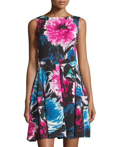 Sleeveless Floral-Print Dress, Raspberry