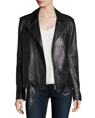 Tralsmin Wilmore Leather Biker Jacket, Black