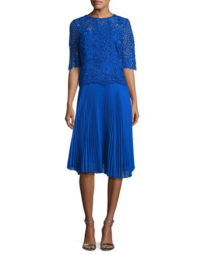 Lace & Pleated Chiffon Cocktail Dress, Blue