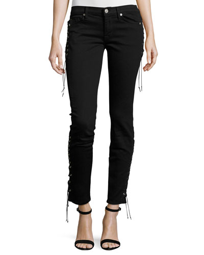 Suki Lace-Up Mid-Rise Skinny Ankle Jeans, Black