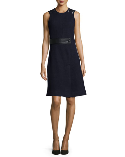 Sleeveless Dress w/Faux-Leather Trim, Dark Navy