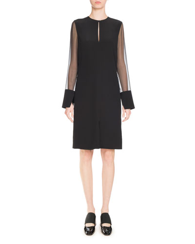 Crepe Dress with Chiffon Sleeves, Black