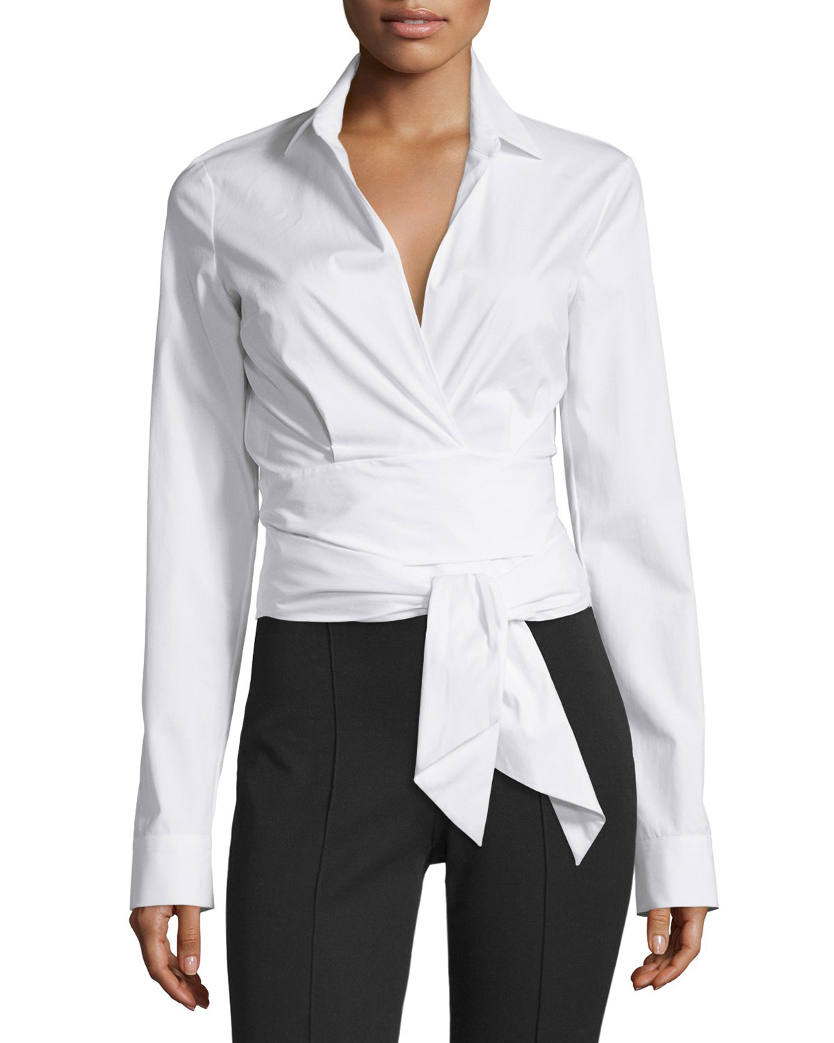 Long-Sleeve Wrap-Front Blouse, White