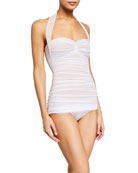 Norma Kamali Bill Mio Halter One-Piece Swimsuit, White