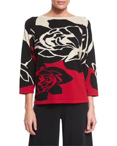 Plus Size 3/4-Sleeve Rose Intarsia Sweater