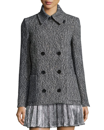 Miles Deluxe Double-Breasted Coat, Gris