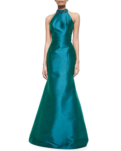 Sleeveless Jeweled-Neck Mermaid Gown