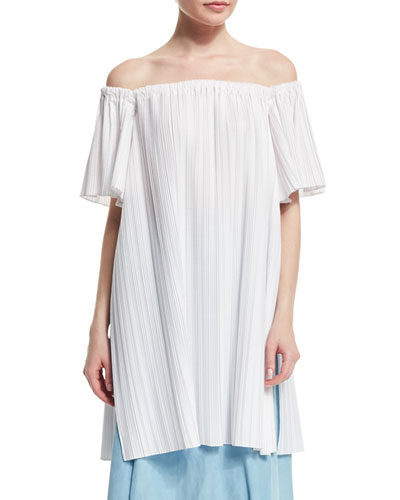 Off-The-Shoulder Pleated Tunic, White
