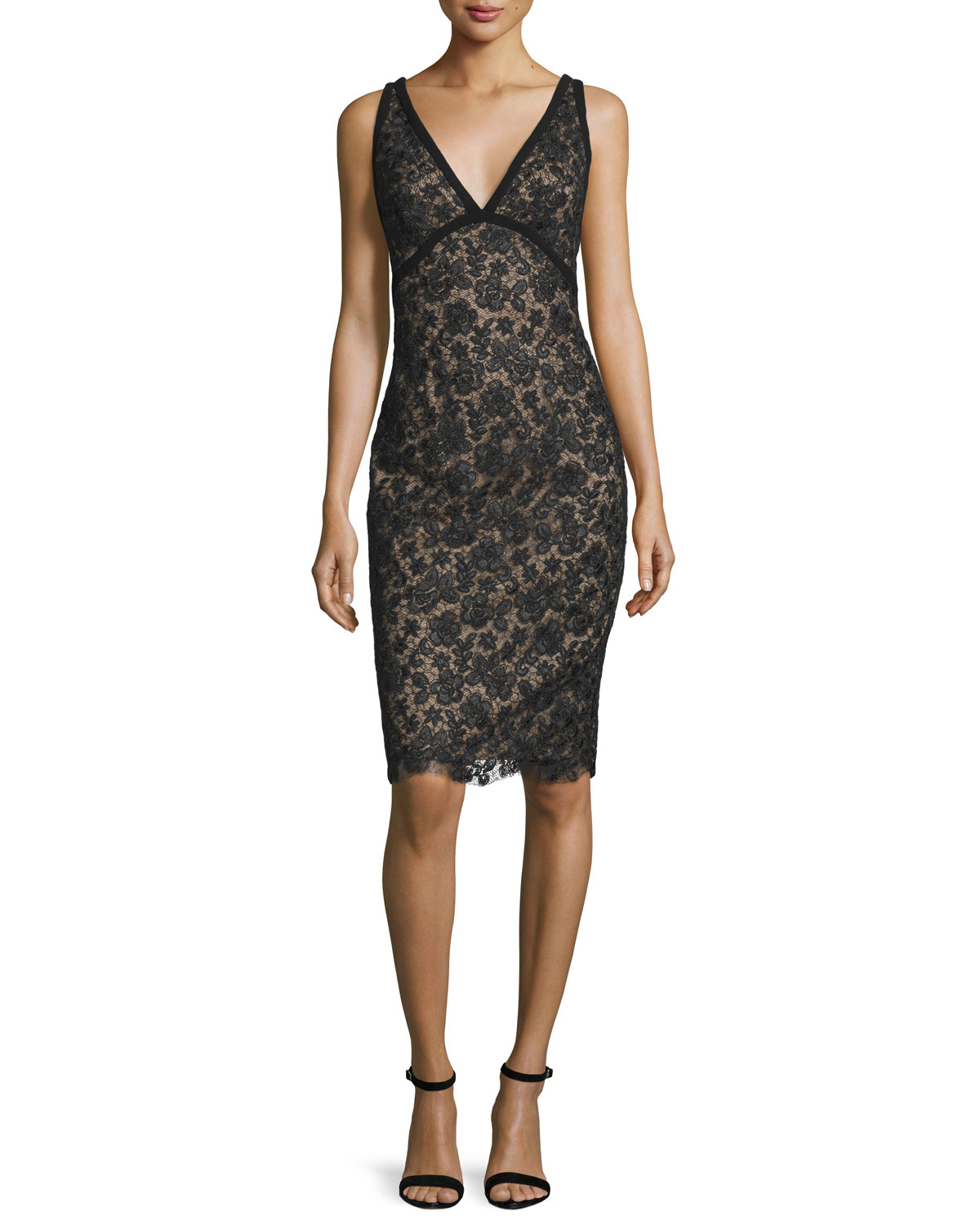 Sleeveless Novelty-Net Cocktail Dress, Black/Nude