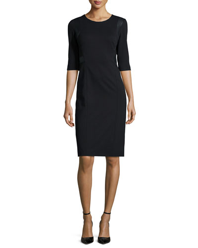 3/4-Sleeve Faux-Leather-Trim Ponte Sheath Dress