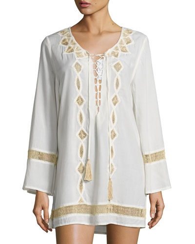 Ever Suede Hand-Embroidered Tunic, Natural
