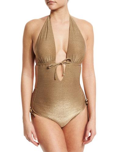 Brena Metallic Plunge-Neck One-Piece Swimsuit