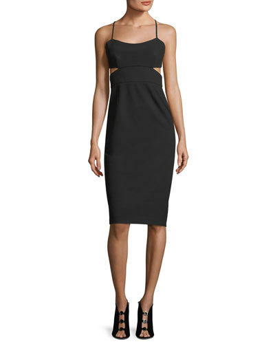 Sleeveless Cutout Stretch Crepe Cocktail Dress