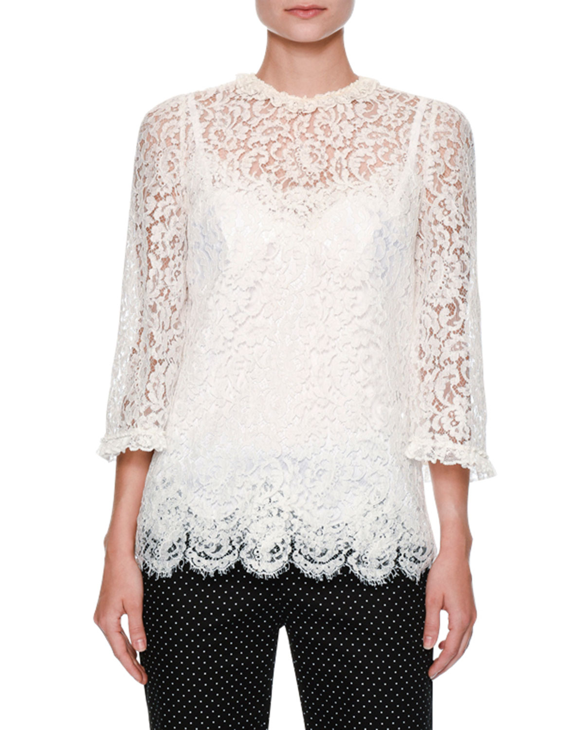 Dolce & Gabbana Tops FLORAL-LACE 3/4-SLEEVE RUFFLED BLOUSE, WHITE