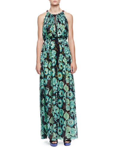 Floral-Print Tassel Drawstring-Neck Maxi Dress