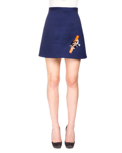 A-Line Mini Skirt w/Sequin Tape Detail, Navy