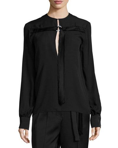 Long-Sleeve D-Ring Tunic, Black