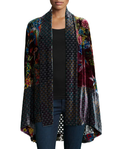 Plus Size Dream Multi-Print Velvet Kimono Jacket
