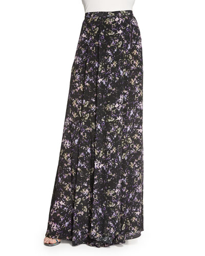 Harriet Long Pleated Printed Silk Skirt