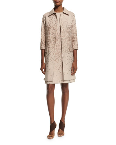 3/4-Sleeve Textured Topper Coat, Cipria Beige