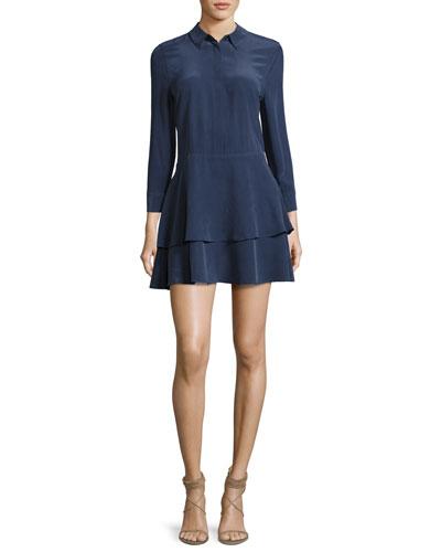 Natalia Tiered Silk Shirtdress, Peacoat