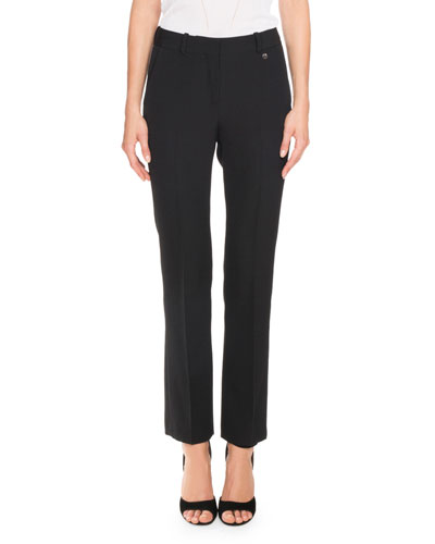 Skinny Boot-Cut Trousers, Black