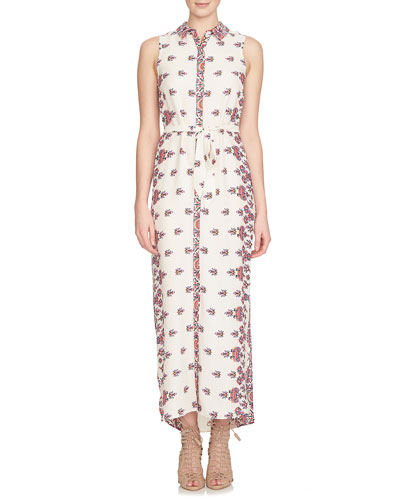 Sleeveless Kaleidoscope-Print Maxi Shirtdress