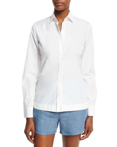 Viviane Cotton Long-Sleeve Blouse, White