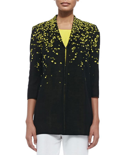3/4-Sleeve Speckled-Shoulder Long Jacket, Plus Size