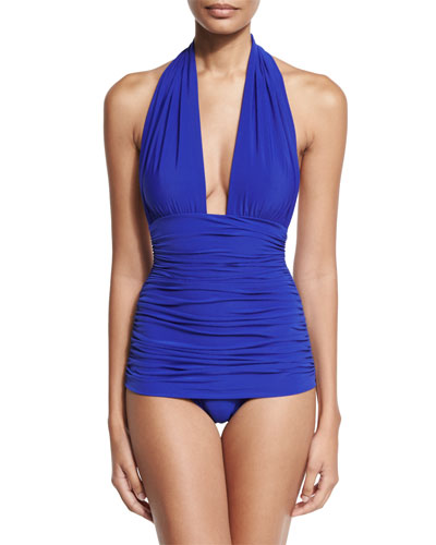 Bill Ruched Halter Maillot Swimsuit, Cobalt
