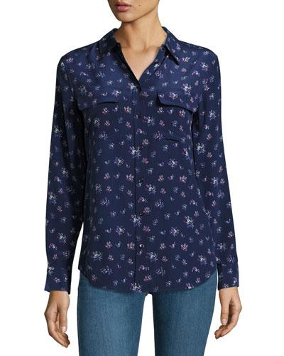 Slim Signature Floral-Print Shirt, Peacoat Multi