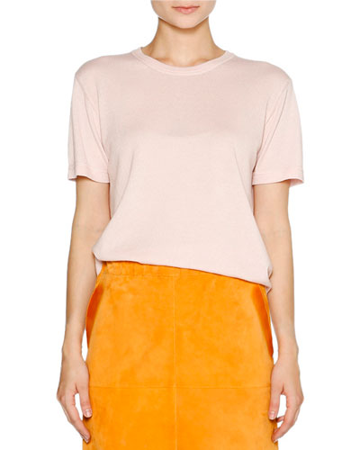 Cashmere Crewneck Short-Sleeve Sweater, Pink