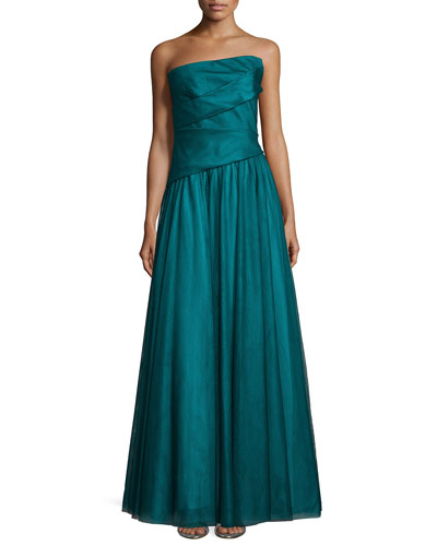 Strapless Pleated-Bodice Evening Gown, Peacock