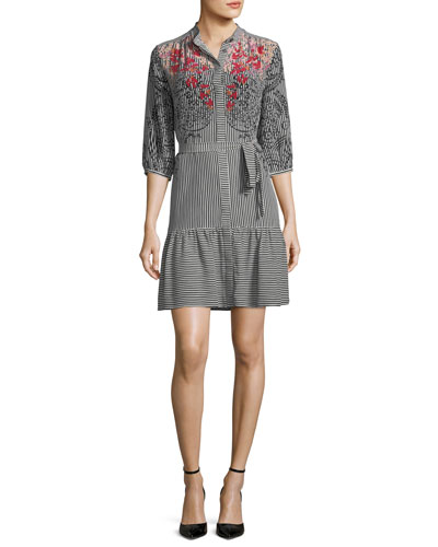 Tyra 3/4-Sleeve Shirtdress