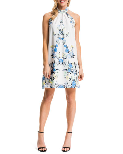Monte Floral-Print Halter Sheath Dress, Lily White