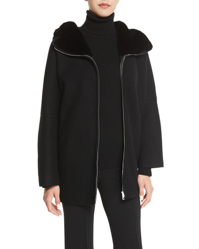 Fur-Lined Zip-Front Cashmere Jacket, Black