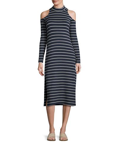 Envelope Dune Stripe Mock-Neck Cold-Shoulder Midi Dress, Navy/White