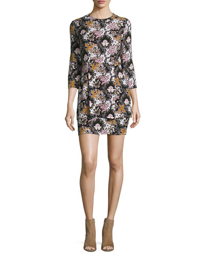 Tordi Floral Silk Mini Dress, Black/Pink/Green