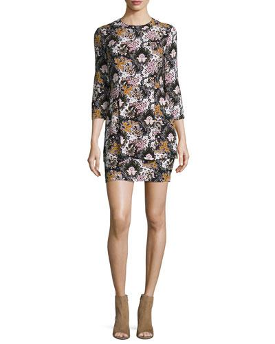 Tordi Floral Silk Mini Dress