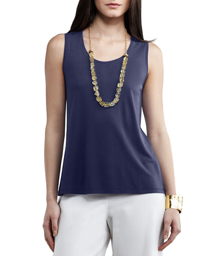 Silk Jersey Tank Top, Navy, Plus Size