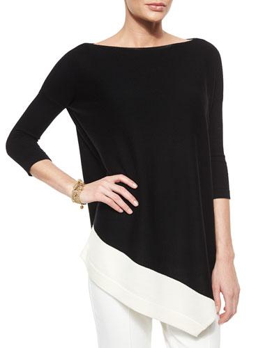 Merino Wool Asymmetric-Hem Sweater