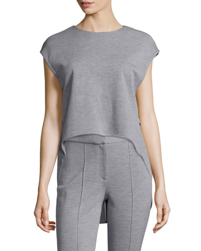 Jewel-Neck High-Low Muscle Top, Light Gray