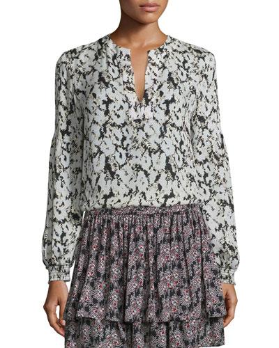 Long-Sleeve Floral Silk Blouse