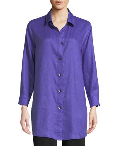 Tissue Linen Boyfriend Shirt, Petite