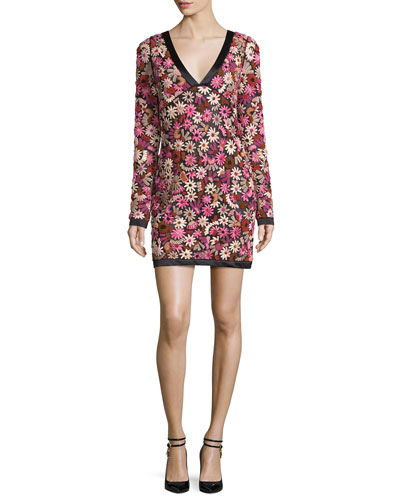 Long-Sleeve Floral-Embroidered V-Neck Dress