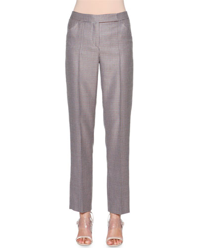 Wool/Silk-Blend Houndstooth Trousers
