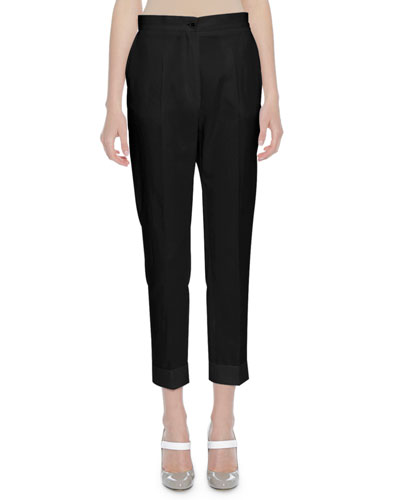 Cropped Cotton Trousers, Black