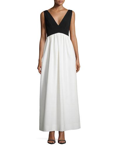 Sleeveless V-Neck Combo Crepe Gown