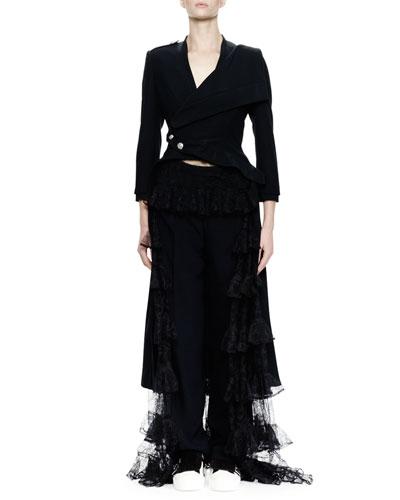 3/4-Sleeve Split-Hem Waterfall Coat, Black