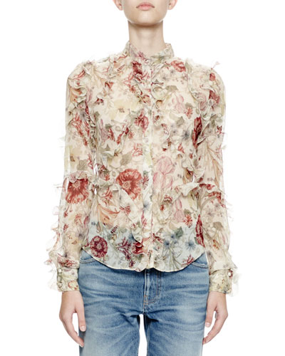 Long-Sleeve Ruffle Medieval Floral Blouse, Multi Colors